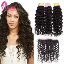 Ear To Ear Lace Frontal Closure 13x4 With 2 or 3 Bundles Premium Malaysian Jerry Curly Real Virgin Remy Human Hair Weft