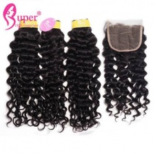 Best Match Jerry Curly Weave Weft 3 or 4 Bundles With Top Lace Closure 4x4 Malaysian Virgin Remy Human Hair Extension