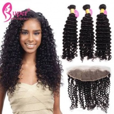 Best Match 13x4 Ear To Ear Lace Frontal Closure With 2 or 3 Bundles Premium Malaysian Curly Virgin Remy Human Hair Extensions