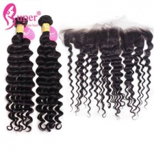 2 or 3 Bundles Deep Wave Hair With Lace Frontals Closure 13x4 Premium Malaysian Virgin Remy Human Hair Extensions uk