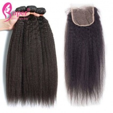Brazilian Kinky Straight 3 or 4 Bundles With Top Lace Closure 4x4 Luxury Virgin Remy Human Hair Weave