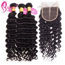 Best Match Deep Wave 3 or 4 Bundles With Top Lace Closure 4x4 Premium Malaysian Virgin Remy Human Hair Extensions Cheap Wholesale Price