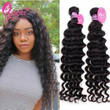 Real Virgin Remy Indian Deep Wave 100 Human Hair Extensions For Sale Cabelo Humano 3 or 4 Bundles Deal Natural Black Color