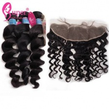 Ear To Ear Lace Frontal Closure 13x4 With 2 or 3 Bundles Luxury Brazilian Loose Wave Virgin Remy Hair Extensions