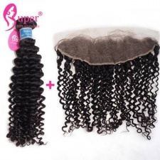 13x4 Lace Frontal Closure With 2 or 3 Bundles Luxury Brazilian Curly Weave Virgin Remy Human Hair Extensions
