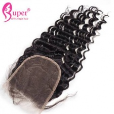 Brazilian Peruvian Malaysian Best Virgin Human Hair Deep Wave Top Lace Closure 5x5 Bleached Knots