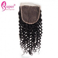 Curly Virgin Human Hair Weave Top Lace Closure 5x5 Bleached Knots Free Part Middle Part Three Part