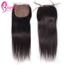 Best Virgin Remy Human Hair Straight Silk Base Closure 4x4 With Bleached Knots Three Part Middle Part Free Part