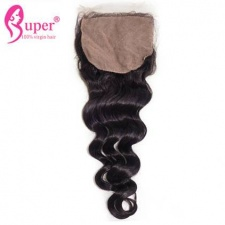 Tissage Cheveux Humain Loose Wave Silk Base Closure 4x4 Indian Peruvian Malaysian Human Hair Closures Bleached Knots