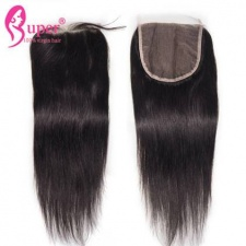 Unprocessed Virgin Straight Human Hair Top Lace Closure 5x5 With Baby Hair 3 part Middle Part Free Part