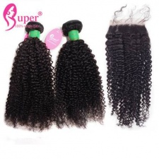 Mongolian Kinky Curly Virgin Hair 3 or 4 Bundles With Top Lace Closure 4x4 Best Match Real Human Hair Extensions