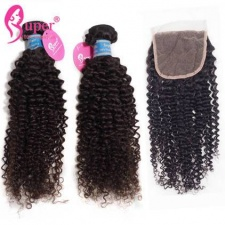 Brazilian Virgin Hair Kinky Curly 3 or 4 Bundles With Top Lace Closure Remy Human Hair Weft Extensions Tissage Bresilienne