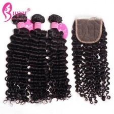Cheap Wholesale Premium Curly Human Hair Bundles With Closure 4x4 Swiss Lace