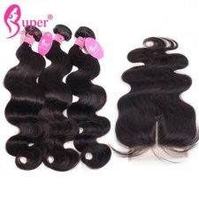 Body Wave 3 or 4 Bundles With Closure 4X4 Top Lace Closures Deluxe Standard Brazilian Virgin Hair Extension