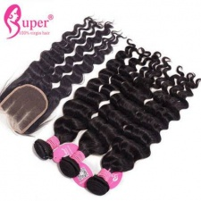Affordable Human Hair Bundles With Lace Closure 4x4 Brazilian Natural Wave Virgin Remy Hair Weave