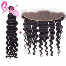 13x4 Lace Frontal And Bundle Deal Cheap Inidan Remy Human Hair Weave Natural Wave For Sale