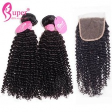Kinky Curly 3 or 4 Bundles With Lace Closure 4x4 Brazilian Remy Human Hair Extensions For Sale