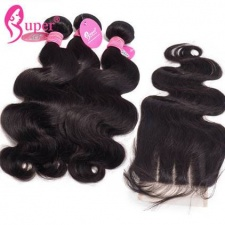 Body Wave 3 or 4 Bundles With Top Lace Closure 4x4 Cheap Remy Human Hair Extensions For Sale Natural Black Color