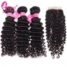 Curly Human Hair Weave 3 or 4 Bundles With Top Lace Closure 4x4 Cheap Remy Hair Extensions Cabelo Humano