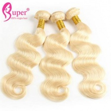 Color 613 Body Wave Brazilian Platinum Honey Blonde Virgin Human Hair Extensions 3 or 4 Bundle Deals For Sale