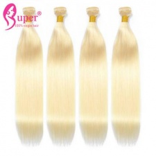 3 or 4 Bundles Brazilian 613 Platinum Honey Blonde Virgin Human Hair Extensions Straight For Sale