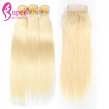 613 Blonde Virgin Remy Brazilian Straight Human Hair Extensions 3 or 4 Bundles With Top Lace Closure 4x4