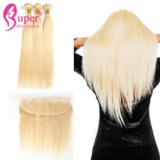 613 Blonde Lace Frontal Closure 13x4 With Best Straight Human Hair Bundles