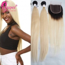 Blonde To Ombre Weave 1b 613 Straight Hair With Lace Closure 4x4