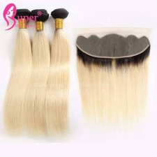 1b 613 Blonde Ombre On Dark Hair Extension Virgin Remy Straight Hair With Lace Frontal 13x4