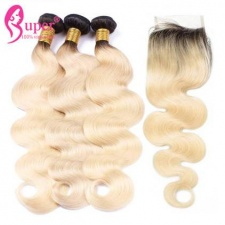 The Best Black Hair With Blonde Ombre Body Wave Hair Bundles with Closure
