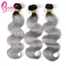 1b Grey Body Wave Ombre Brazilian Human Hair Extension Straight Cheap Remy Hair Weave