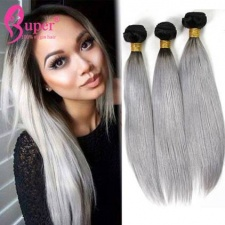 Two Color Fashion Ombre Hair 1b Grey Natural Straight Virgin Human Hair Bundle Deals