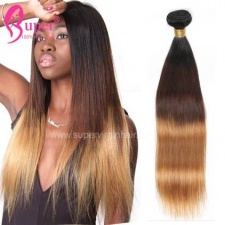Best 3 Color Black Brown And Blonde Ombre Hair 1b 4 27 Silky Straight 100 Remy Human Hair Extensions
