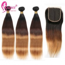 Color 1b 4 27 Brown To Blonde Ombre Hair With Lace Closure 4x4 Straight Virgin Human Hair