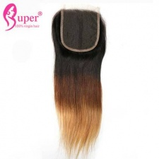 Brown To Blonde Best Ombre Hair Lace Closure 4x4 3 Color 1b 4 27 Straight Virgin Human Hair