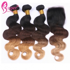 Ombre Hair Brown To Blonde 1b 4 27 Body Wave Bundles With Lace Closure 4x4 Best Virgin Human Hair