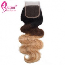 Ombre Highlights Color 1b 4 27 Virgin Human Hair Body Wave Top Lace Closure 4x4