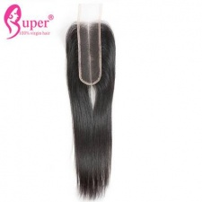 Deep Middle Part Top Lace Closure 2x6 Brazilian Straight Remy Human Hair With Baby Hair