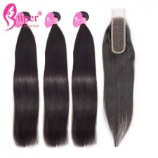 Virgin Hair Bundle Deals With Top Lace Closure Deep Middle Part 2x6 Straight Human Hair Extensions