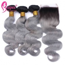 Black Ombre Hair 1b Grey 3 or 4 Bundles Body Wave With Lace Closure 4x4 Real Human Hair Extensions
