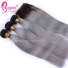 1b Grey Light Ombre Hair With Lace Closure 4x4 Straight Human Hair Weave