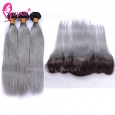 Two Color Ombre Hair 1b Grey 2 or 3 Bundles With Lace Frontals 13x4 Best Straight Remy Human Hair Weave