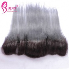 1b Grey Ombre Color Lace Frontal Closure 13x4 100 Straight Virgin Human Hair