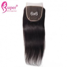 6x6 Top Lace Closure Free Part With Baby Hair Brazilian Straight Virgin Hair Natural Black #1b