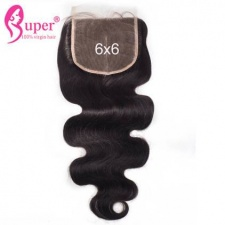6x6 Swiss Lace Closure Bleached Knots Peruvian Body Wave Virgin Human Hair Can Be Dyed