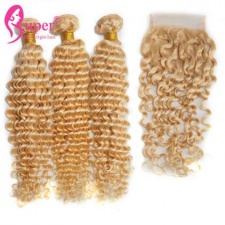 613 Color Blonde Human Hair Extensions With Lace Closure 4x4 Deep Wave Curly 100 Virgin Hair