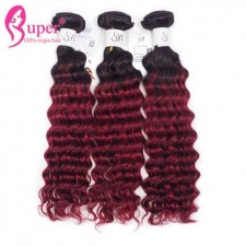 Ombre Hair Dye Color 1b 99j Deep Wave Hair Extensions Wholesale Price