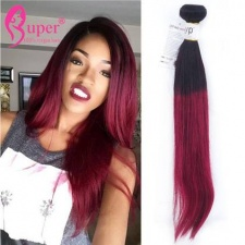 1b 99j Ombre Hair With Dark Roots Natural Straight Virgin Remy Hair Bundle