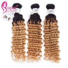 1b 27 Light Ombre Colored Hair Extensions Deep Wave Human Hair Bundle Deals