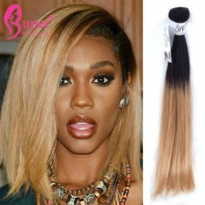 1b 27 Short Blonde Ombre Hair Extensions Straight Human Hair For Sale